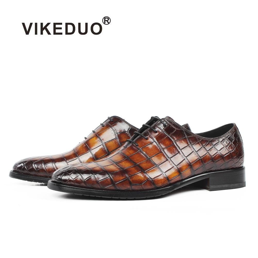 Acquista VIKEDUO New 2018 Vera Pelle Di Coccodrillo Scarpa Da Uomo Plaid  Oxford Scarpa Da Uomo Marrone Matrimonio Ufficio Formale Calzature Zapato A  ... d63e40afb07