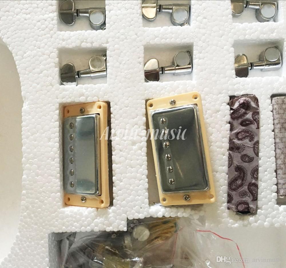 Caldo! Factory custom shop Chitarra elettrica di alta qualità Kit fai da te Set Corpo in mogano Tastiera in palissandro Stringa in lega di nichel, doppio foro
