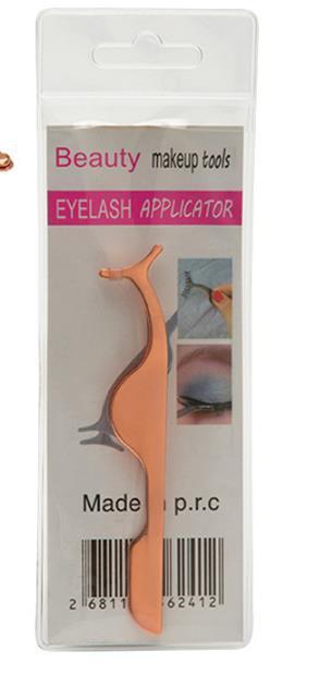 Aplicador de extensión de bigudí de pestañas de acero inoxidable Clip removedor de cejas pestañas Pinzas Pinza herramienta rosa negro