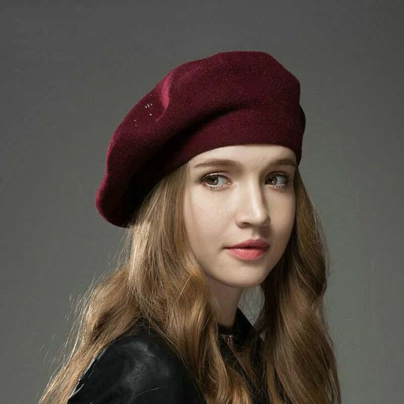 1d7a12ae4dd6e9 2019 2018 Winter New Berets Hat Wool Cashmere Womens Warm Brand ...