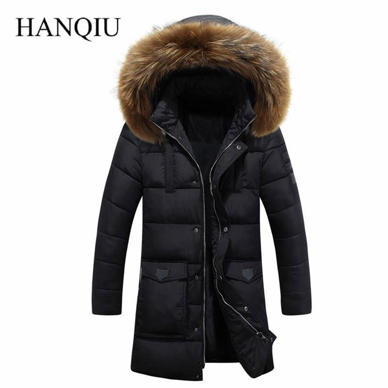6ada72dacc3a5 2018 Winter Puff Jacket Men Coat Thick Warm Casual Fur Collar Long Thick  Coat Parkas Men Windproof Hooded Outerwear Men's Parkas