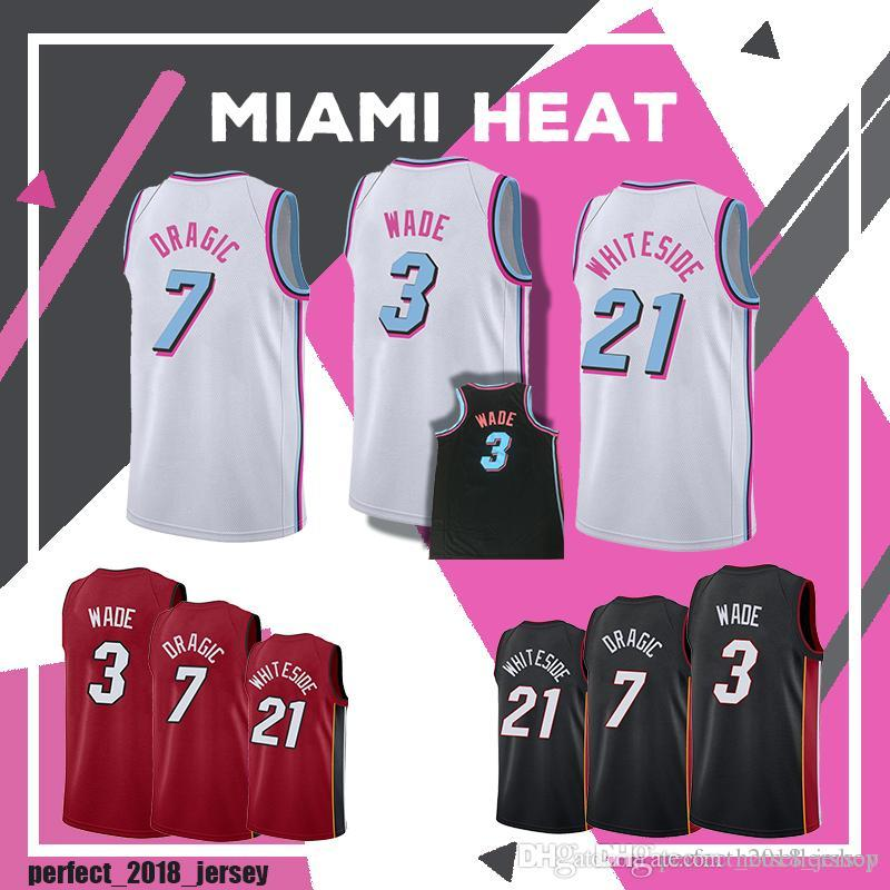 8aa42344d31 3 Dwyane Wade New 7 GORAN DRAGIC 21 HASSAN WHITESIDE Jersey Men s ...