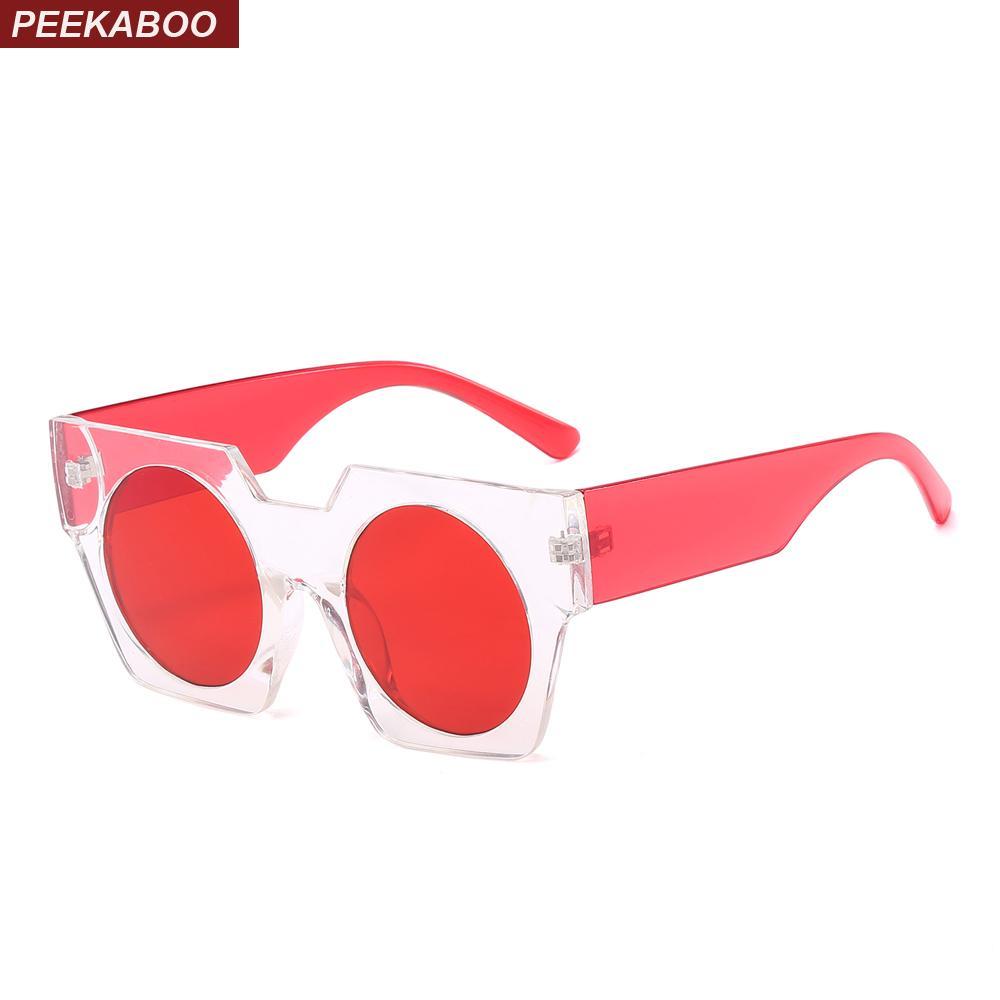 0061d8e51e5 Peekaboo Round Red Lens Sunglasses Women Square Frame 2018 Black Cheap  Transparent Sun Glasses For Women Men Uv400 Suncloud Sunglasses Foster Grant  ...