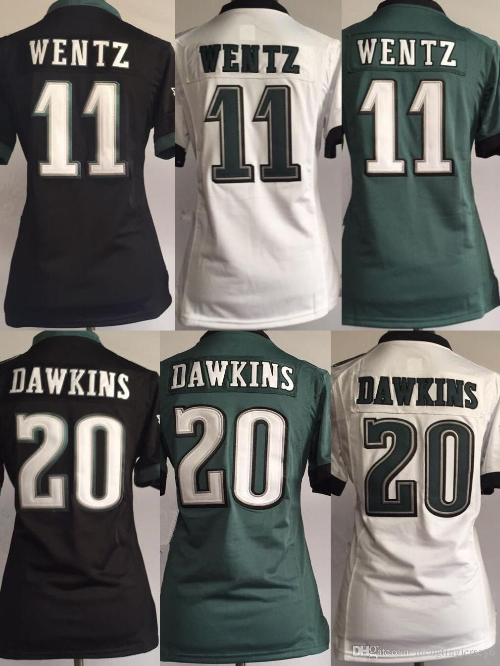 more photos 5bdc2 759f4 11 Carson Wentz Women Jersey 20 Brian Dawkins 17 Alshon Jeffery  Philadelphia Eagles Football Jerseys Black Green White
