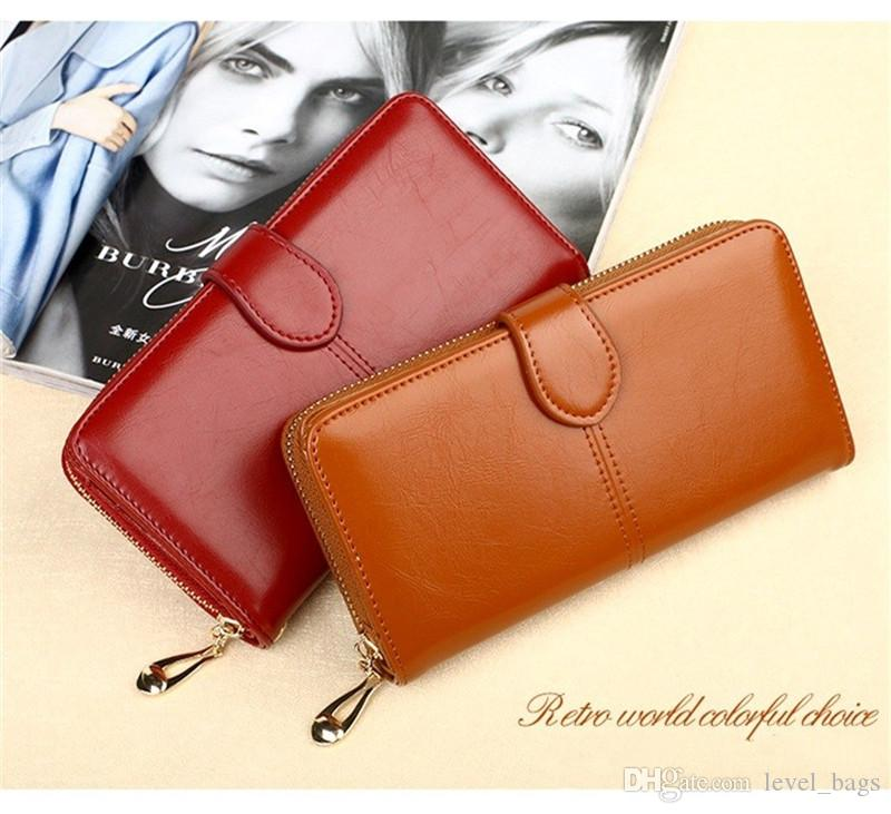Hot oil wax leather wallet student oil skin coin holder explosion mobile phone bag long hand bag retro card package H680