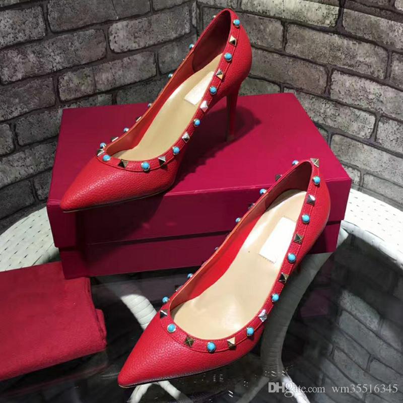 a1e897f17b326b Acheter Mode Sexy Femmes Hauts Talons 8.5 Cm Rivets Chaussures Talons  Minces Mode Pompes Chaussures Taille 34 42 De $72.37 Du Wm35516345    DHgate.Com