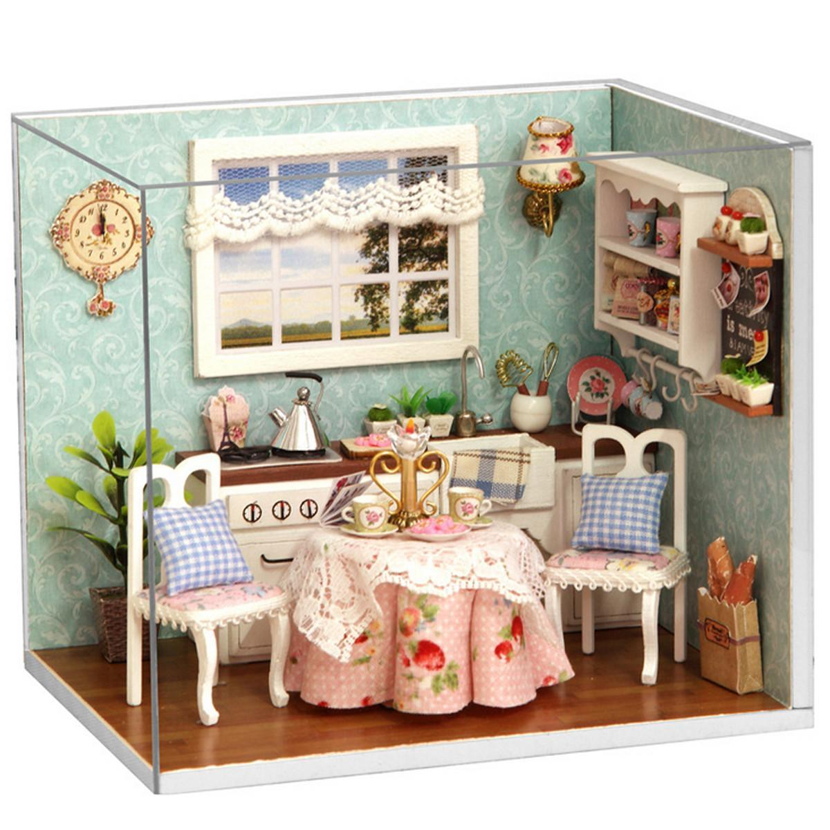 Diy 3d Wooden Dollhouse Miniature Dining Room Model Kit With Cover And Led  Furnitures Handcraft Miniature Kitchen Doll House Wood Dollhouse Furniture  ...