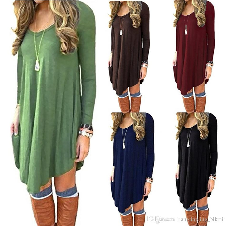 Women Autumn Sexy Long Sleeve Irregular Hem Loose Clubwear Casual T-Shirt Dress Mini Shirt Dresses LJJO4130