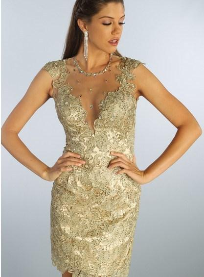 formal evening 2018 crystal beaded ball dresses elegant dress formal prom gowns short lace gold Cocktail Dresses