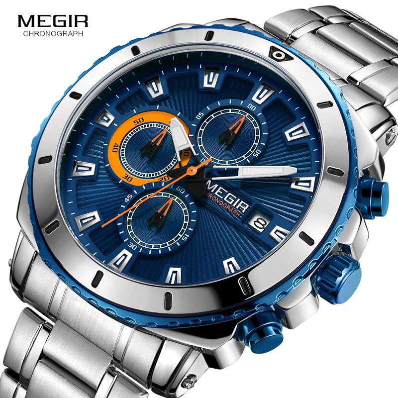 cad16cb77a6 Compre Megir Homens Azul Dial Cronógrafo Relógios De Quartzo Moda Aço  Inoxidável Analógico Relógios De Pulso Para O Homem Mãos Luminosas 2075g 2  De ...