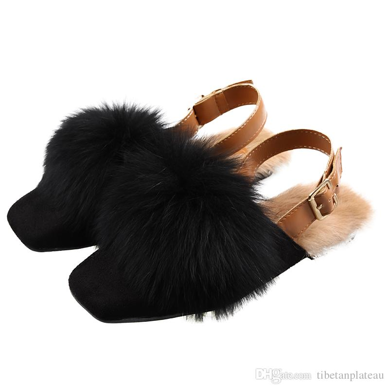 b34f84d098f048 2018 Autumn And Winter Women Shoes Fashion Rabbit Fur Leather Slippers Warm Flats  Shoes Sling Back Flip Flop Loafers Free Ship Comfortable Shoes Discount ...