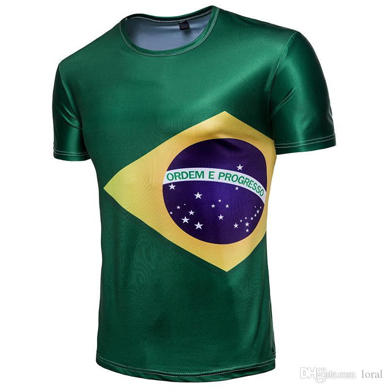 aa4e12a7e Russia 2018 World Cup Tshirts Mens Short Sleeves Souvenirs Soccer Football  Fans Tees With Brazil National Flag Print T Shirts For Sale Printed T Shirt  From ...