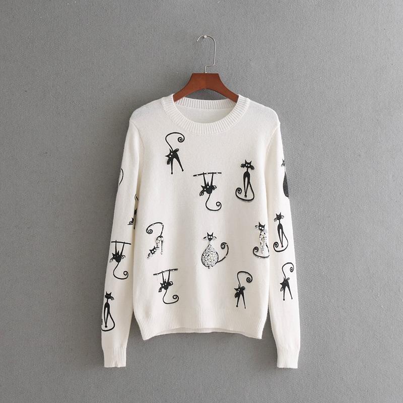 2018 High Quality Women Cat Pattern Print Knitting Sweater Diamond ...