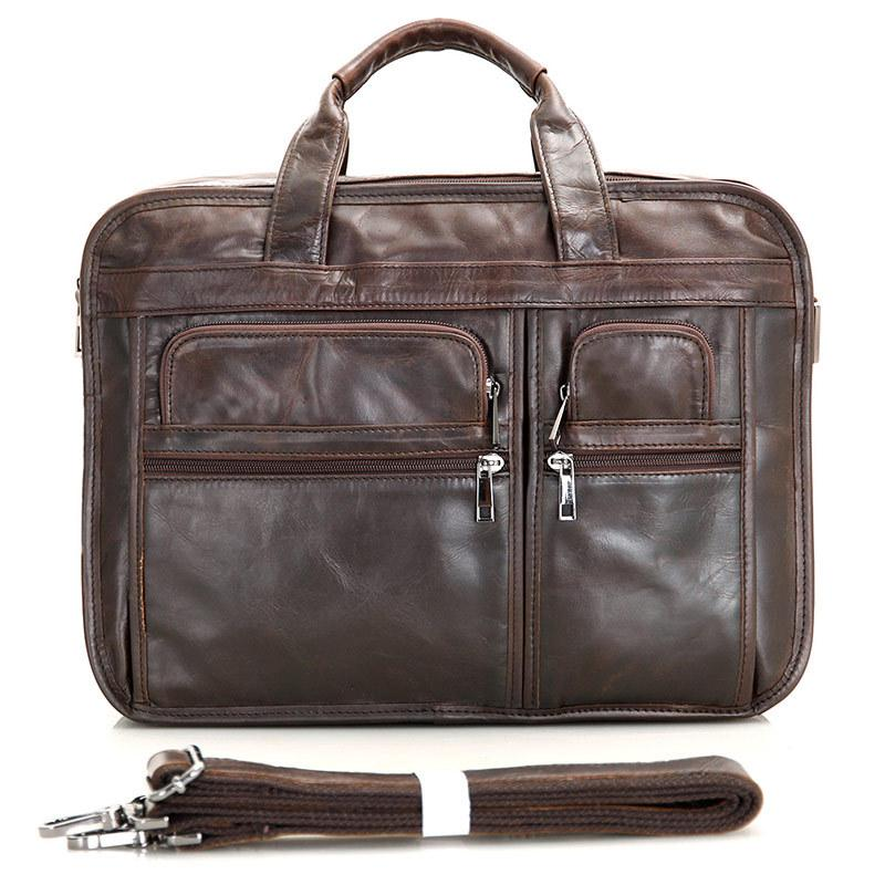 4c811ac5197 Vintage Genuine Leather Bags Men Briefcase Natural Cowskin Portfolio ...