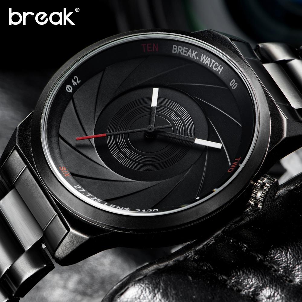 Break Creative Unique Design Mens Watches Top Brand Luxury Wristwatch Quartz Sports Wrist Watch Men Gift Clock Relogio Masculino