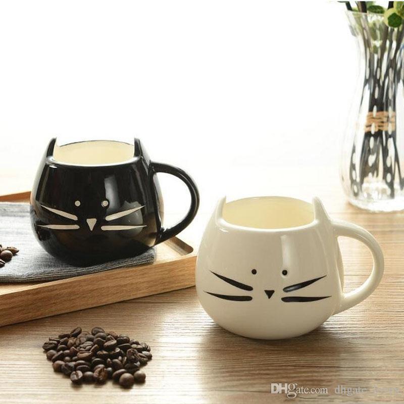Creative White Black Cat Animal Milk Coffee Juice Breakfast Cup