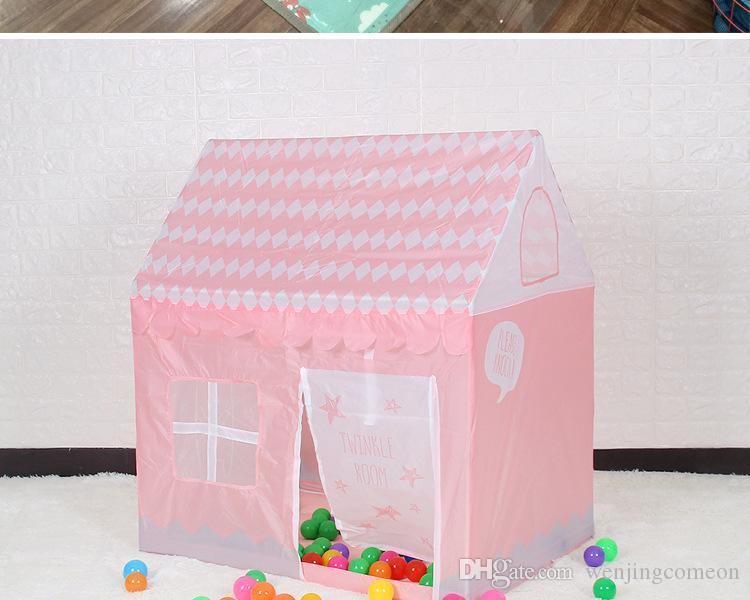 어린이 해변 텐트 소녀 사랑스러운 핑크 게임 하우스 게임 바다 공 텐트 공주 성 실내 야외 완구 텐트 100 * 70 * 110cm