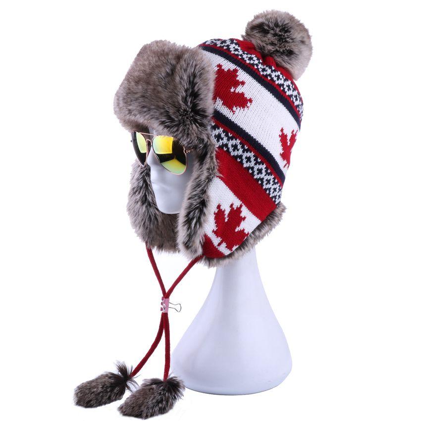 d3d3c998948d76 2019 Women Faux Fox Fur Pompom Russian Ushanka Wool Knitted Earflap Bomber Trapper  Hat Winter Snow Ski Cap Maple Leaf Pilot Trooper From Vintage66, ...