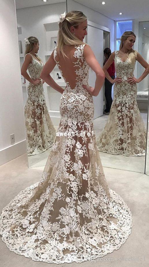 2019 прозрачные кружевные свадебные платья цвета слоновой кости русалка иллюзия лиф свадебное платье с открытой спиной