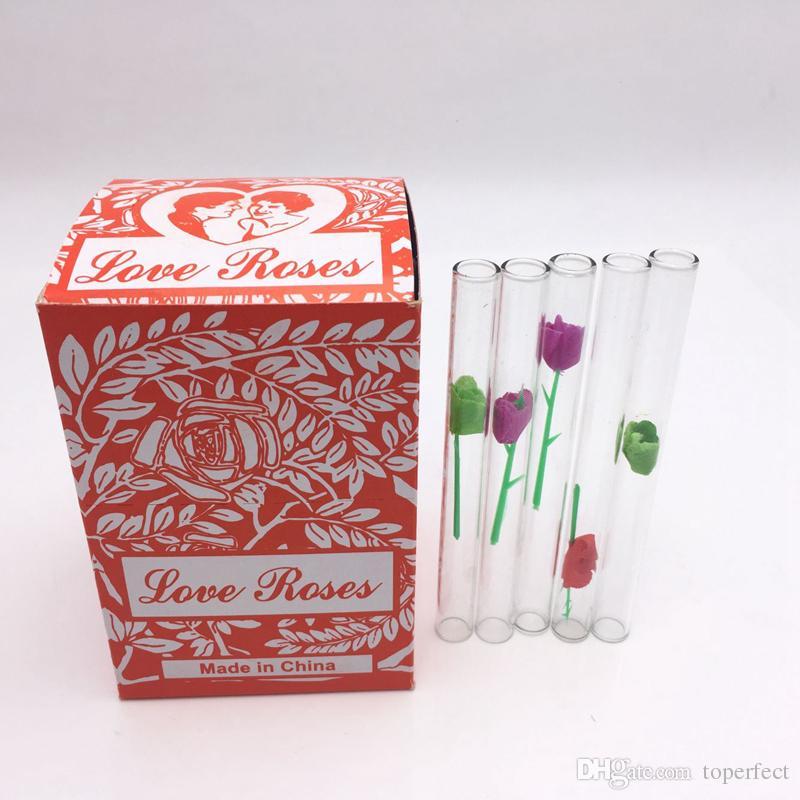 Tube en verre rose de verre d'amour avec la fleur en plastique à l'intérieur dans une boîte, tuyaux de pipe de pipe en verre rose d'amour de pipe disponibles