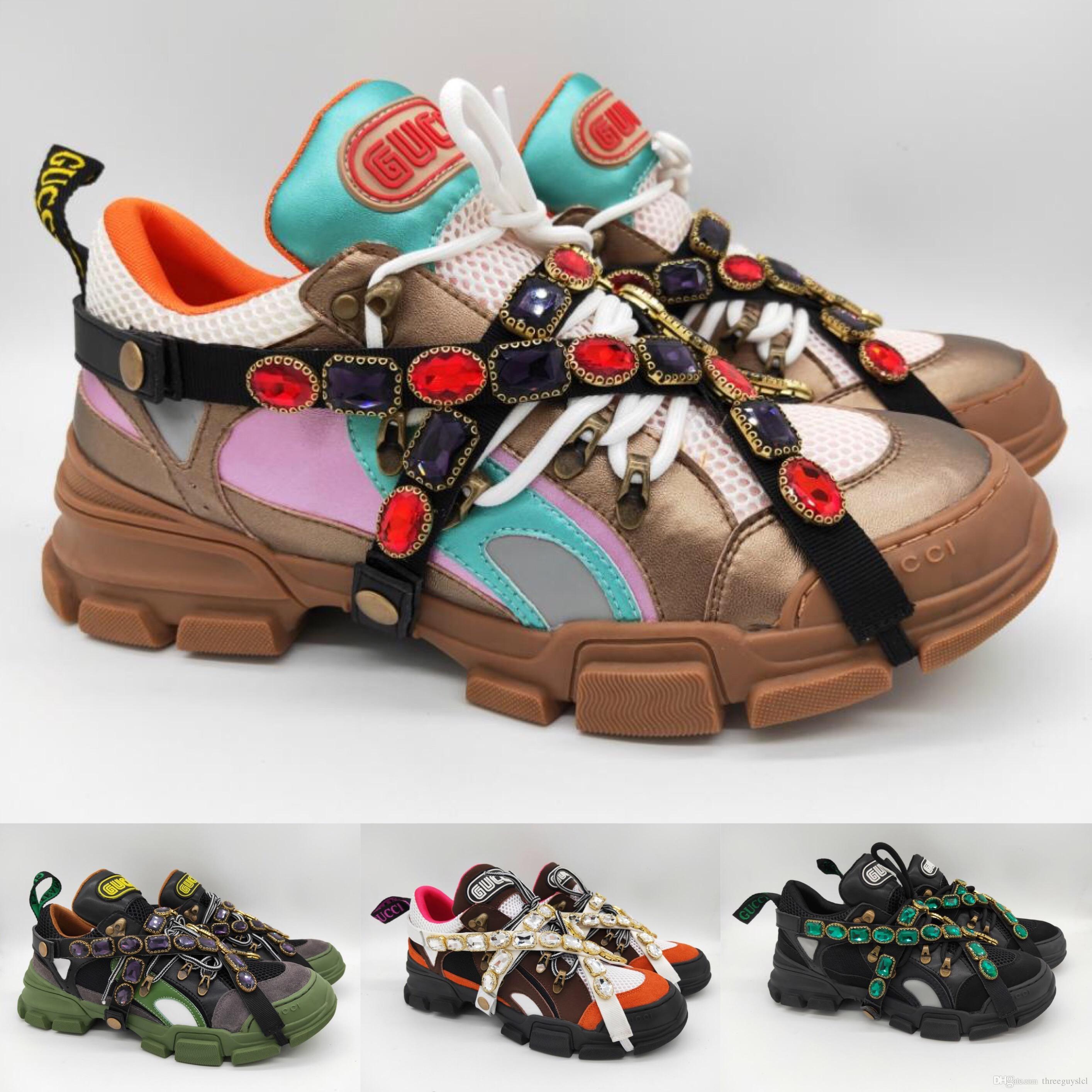 0037e5e1c86 Satın Al Çıkarılabilir Kristaller Lüks Mens Womens Ile Flashtrek Sneaker Boy  Tasarım Açık Yürüyüş Ayakkabıları Renkli Deri Dağ Tırmanma Ayakkabıları