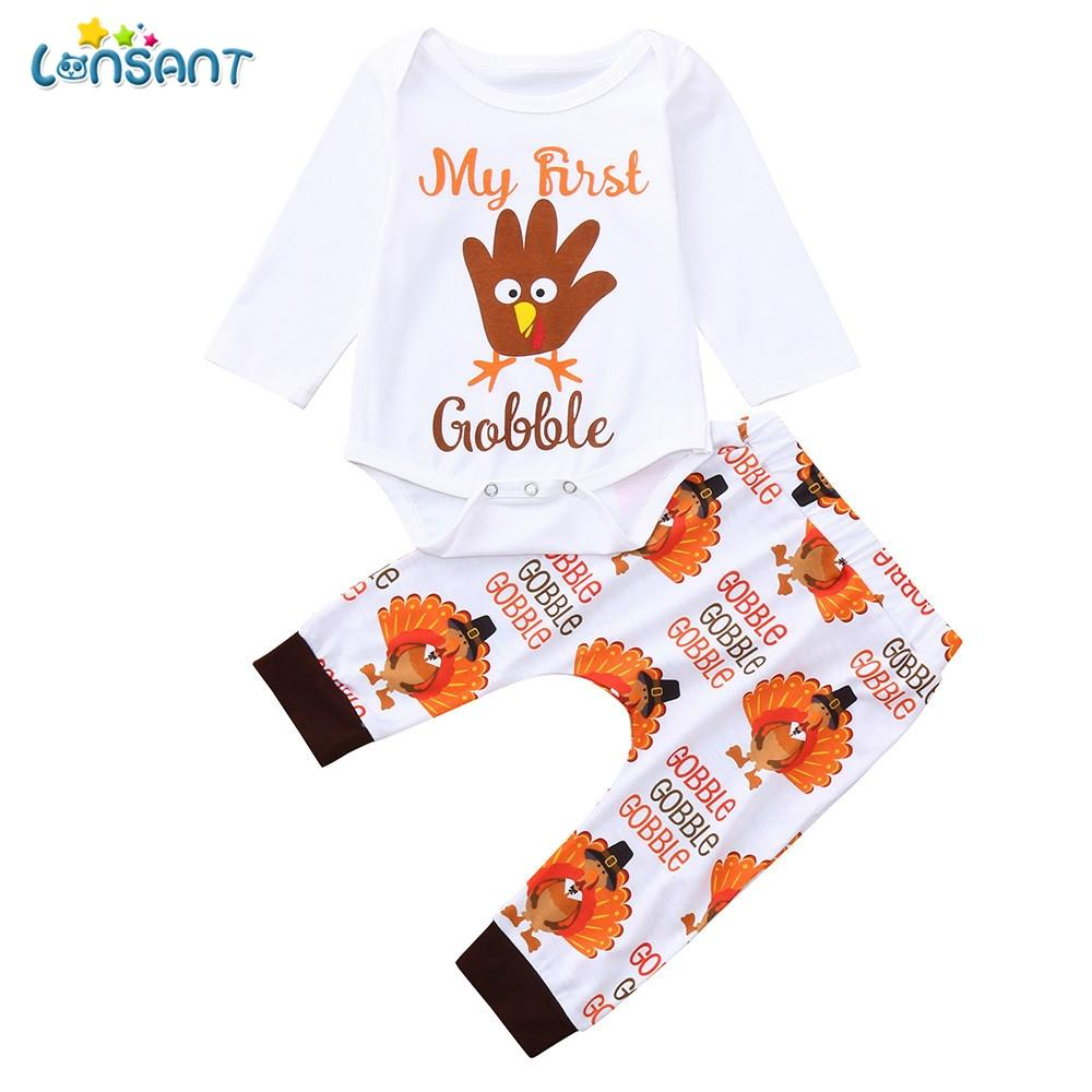86fb762f3eb7 2019 LONSANT 2018 Baby Boy Girl Thanksgiving Day Clothes Set Letter ...