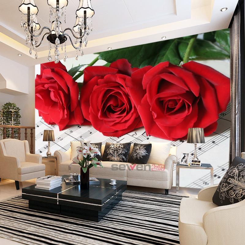 Three Red Rose Flowrer 8d Papel Mural Musical Note 3D Photo Murals Wallpaper 3d Wall Murals For