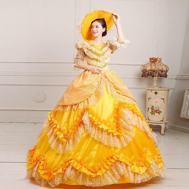 2018 Yf Women\'S Victorian Ball Gown Costume Dress Yellow Belle ...