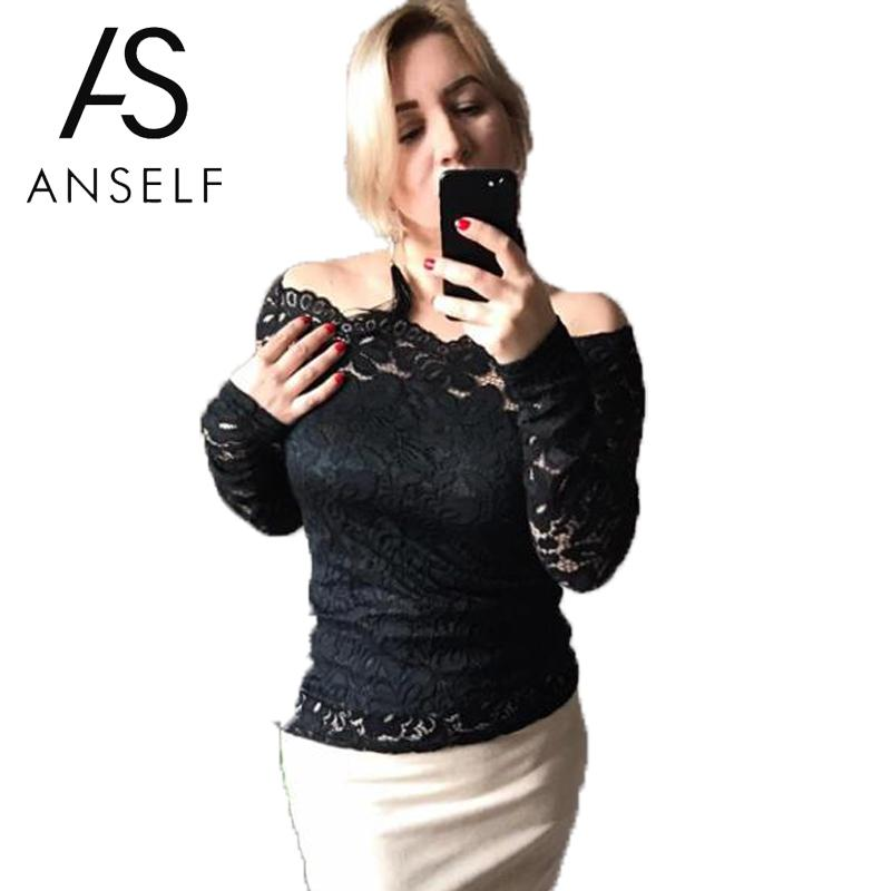 8a04cb42788 2019 XXXL 4XL 5XL Plus Size Lace Blouse Women Shirts Tops Hollow Out Sexy  Off Shoulder Tops Long Sleeves Elegant Ladies Tunic Female Y1891109 From ...