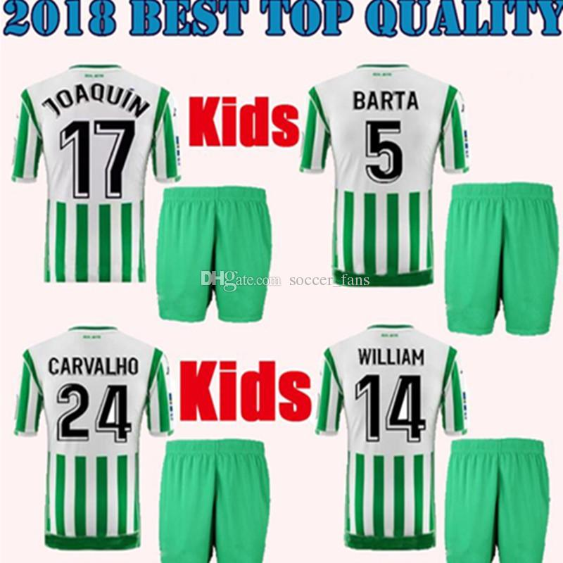 2018 2019 REAL BETIS KIDS KIT HOME JOAQUIN SOCCER JERSEYS BOUDEBOUZ ... 7ec44f4b0
