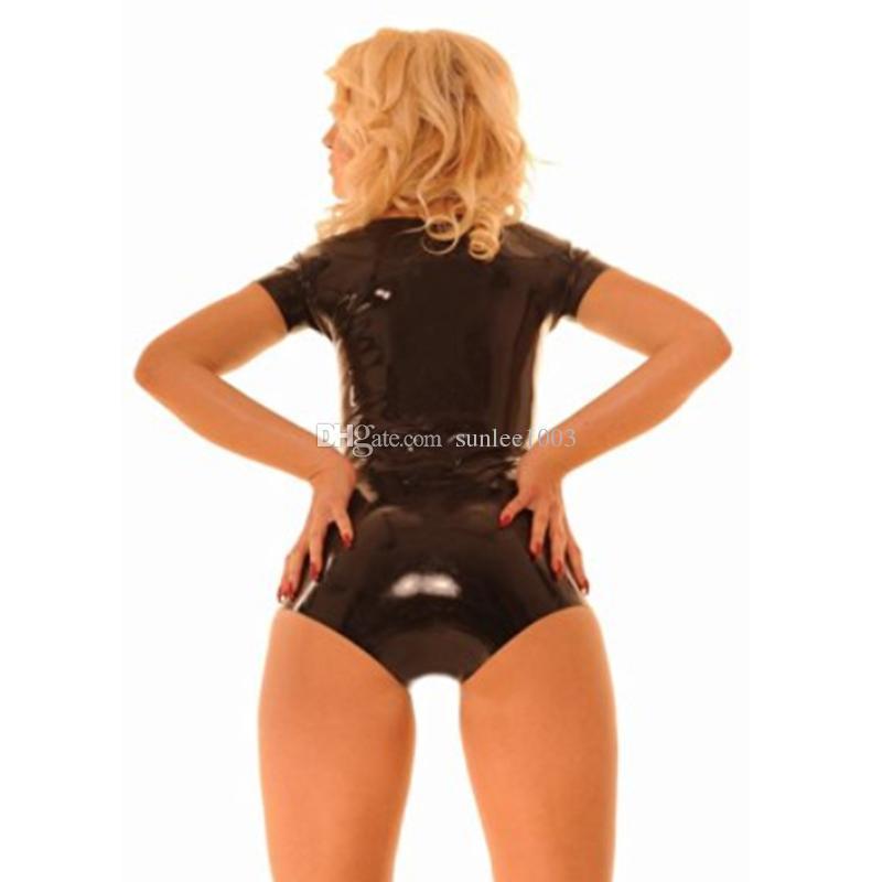 Сексуальные женщины экзотические ручной работы Комбинезон женский низкий воротник купальник с коротким рукавом боди фетиш равномерное Зентаи костюмы без молнии