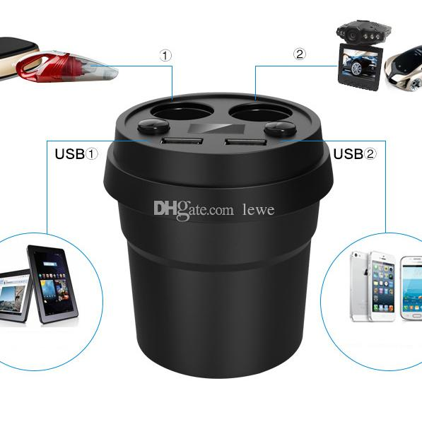 Car Charger 2 port and 2 cigarette lighter DC12~24V with gift box wholesale dual usb car charger 3.1A for GPS iPhone