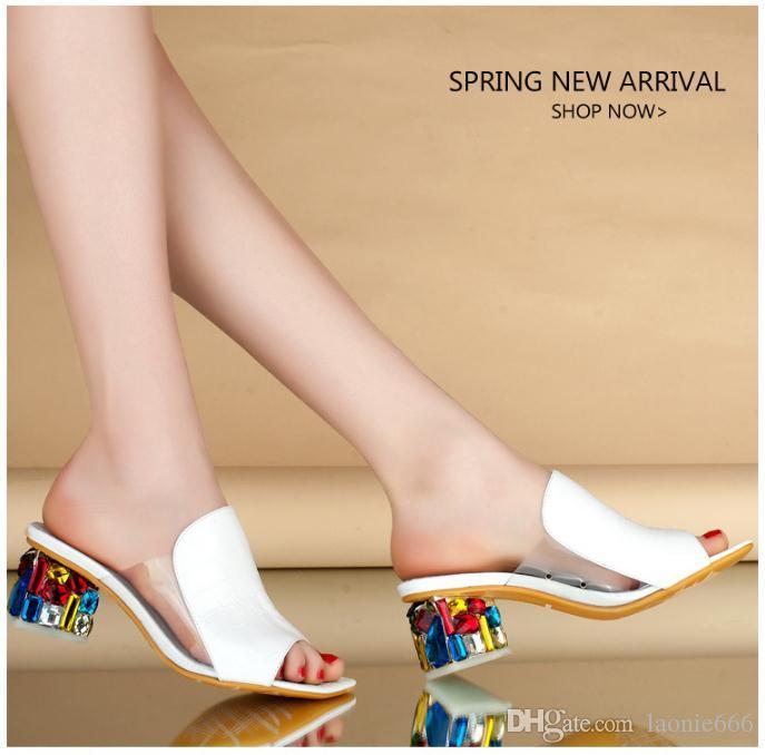 Летние новые сандалии женщина с рыбий рот горный хрусталь Европа и Соединенные Штаты мода большой размер грубый с сандалиями и тапочками