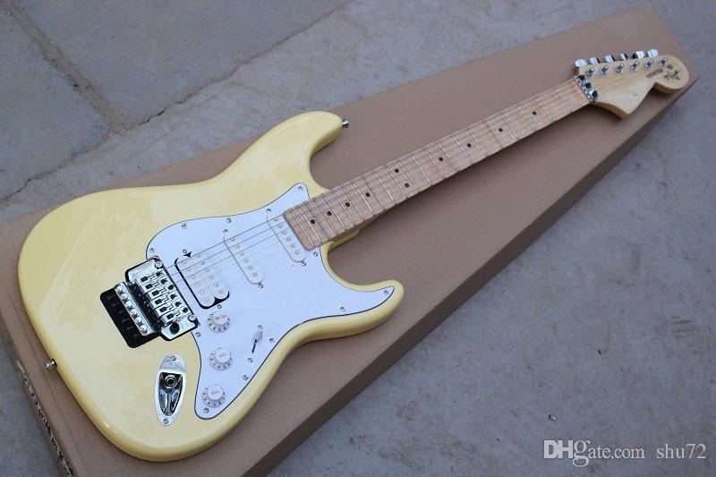 2015 Fábrica Chinesa Personalizado 100% Novo ST creme cor scalloped fingerboard grande headstock Floyd subiu tremolo guitarra elétrica 930asd