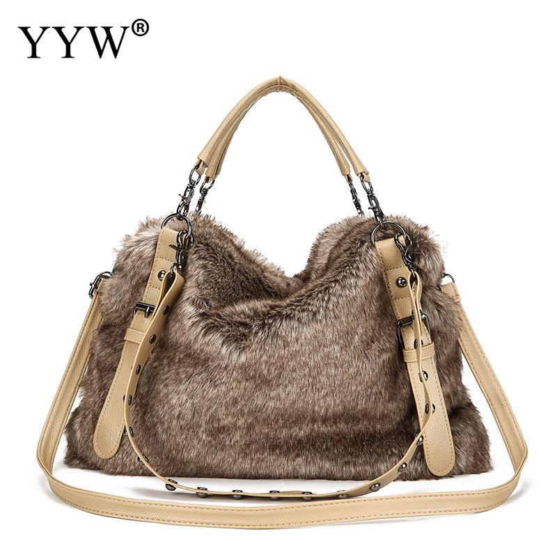 7775dcbbedad 2018 Winter Soft Faux Fur Bag Fashion Women Fur Tote Bag Warm Pu Leather  Handbag Ladies Crossbody Rivet Shoulder Messenger Cute Handbags Backpacks  From ...