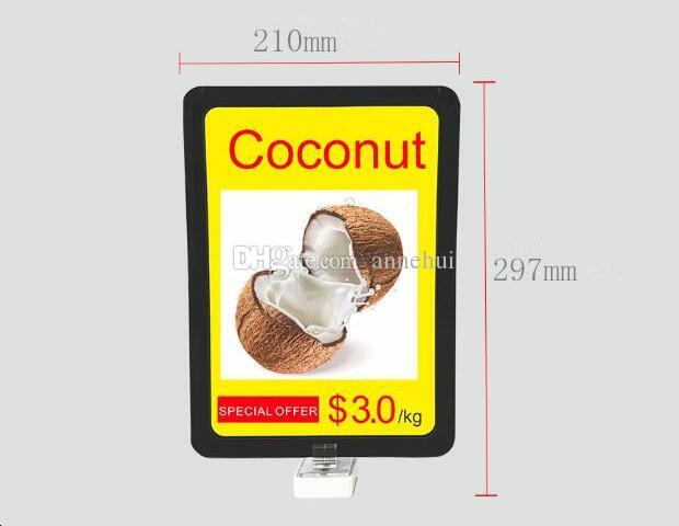 Wholesale A4 POP advertising poster price tag display holder for supermarket fashion strong Magnetic base price menu photo frame
