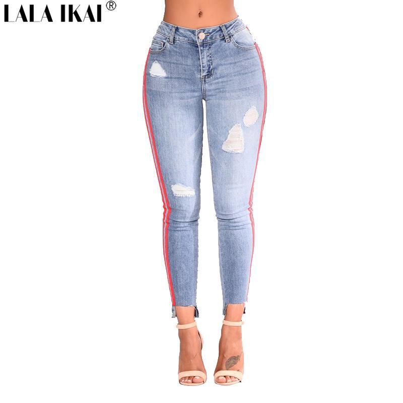 38c94d4c6f987 2019 LALA IKAI Plus Size 2XL 3XL Women Denim Pants Side Striped Hip Package  Jeans Ladies Chic Skinny Ripped Trousers Girls KWA0427 4 From Xiamen2013