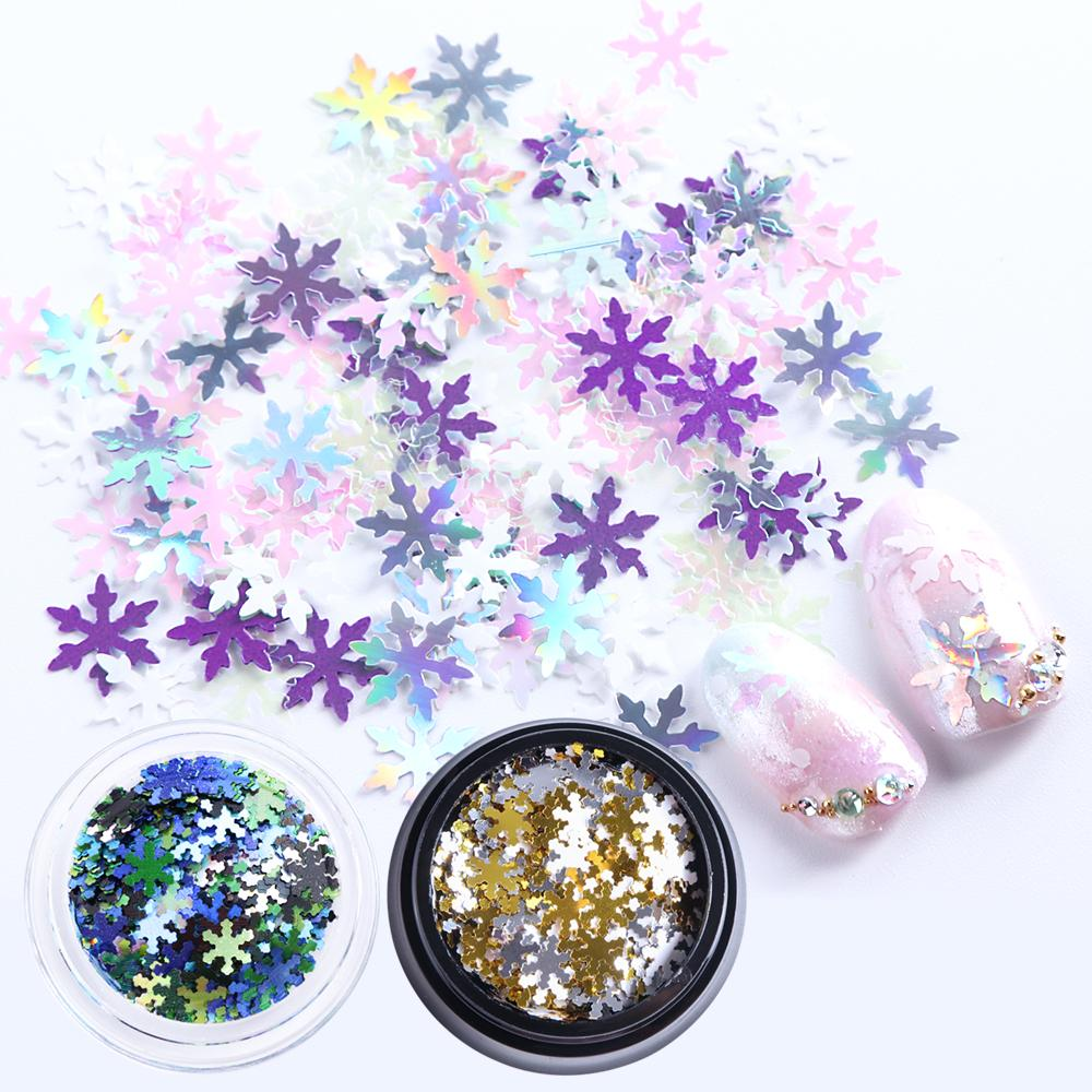 1pcs Mixed Snow Flakes 3D Nail Charms Holographic Paillette Colorful Acrylic Sequins Nail Art Decorations Manicure Tools BE713