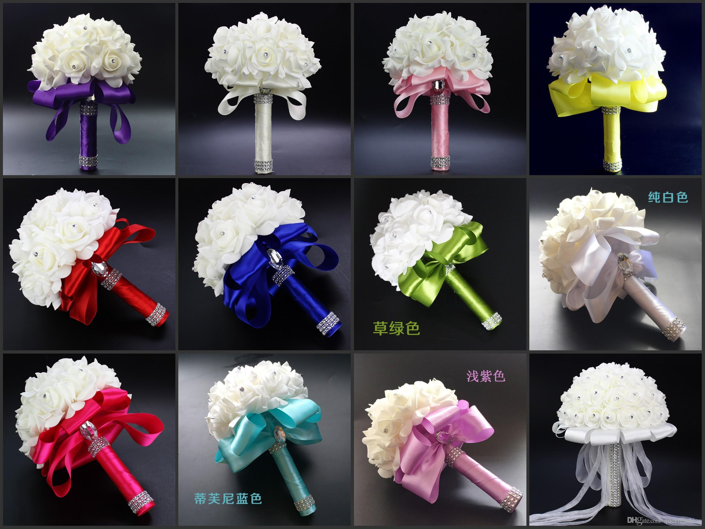 Bridal Wedding Bouquets Bridesmaid Bouquet With Crystals Artificial