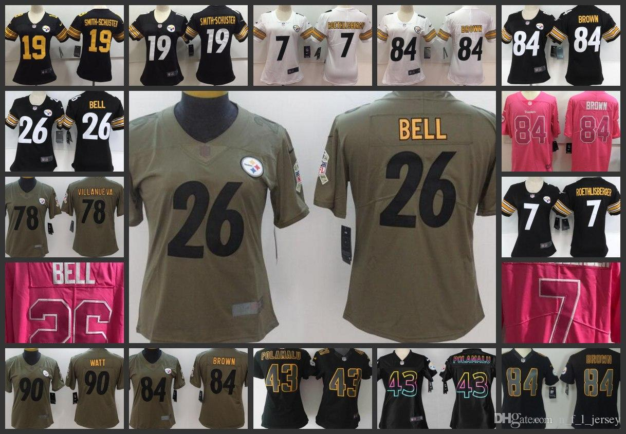 Pittsburgh Steelers Legend Women Jersey  84 Antonio Brown 19 JuJu Smith- Schuster 26 Le Veon Bell 7 Ben Roethlisberger Jerseys Online with   27.22 Piece on ... bfe77c9c9