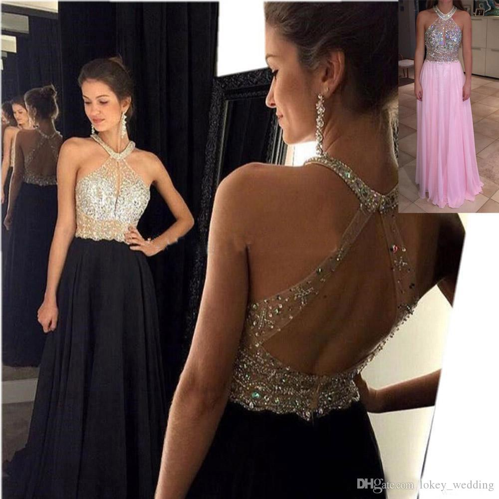 04c4276b27 Beaded Crystal Long Evening Dresses Sequins Chiffon Halter Backless  Illusion A Line Floor Length Formal Prom Gown Party Pageant Dresses White  Evening Gowns ...