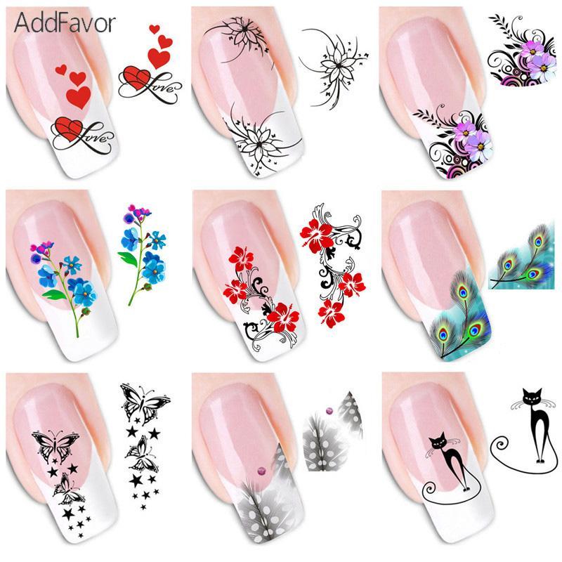 AddFavor Butterfly Flower Nail Decal Sticker Fingernail Decal DIY ...