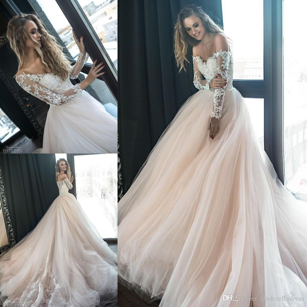 c78c876169 Discount Blush Pink 2018 Long Sleeves Lace Wedding Dresses Off Shoulder  Sheer Tulle Applique Layered Ruffles Backless Sweep Train Garden White  Dresses ...