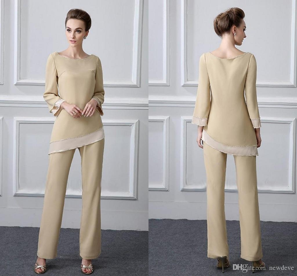 881eea65cfc9 Chiffon Mother Of The Bride Pant Suits Two Piece Jewel Neckline Long  Sleeves Mother Pant Suit Simple Design Wedding Guest Gowns J0an Rivers Joan  Joan Rivers ...