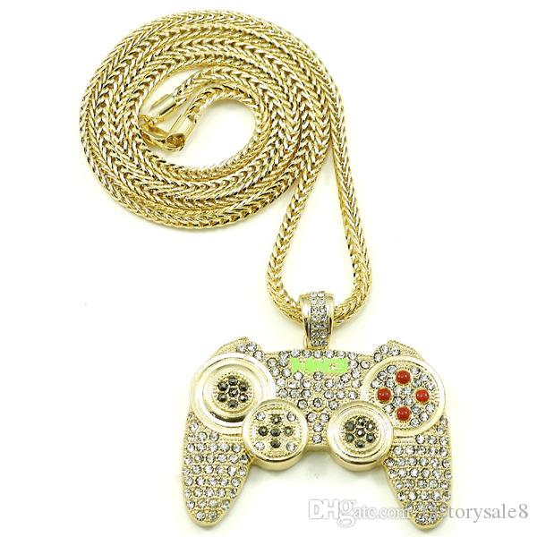 Hip Hop Game Machine Handle Pendant Necklace Mens Full Crystal Heavy Necklace Fashion Iced Out Game controller Necklace