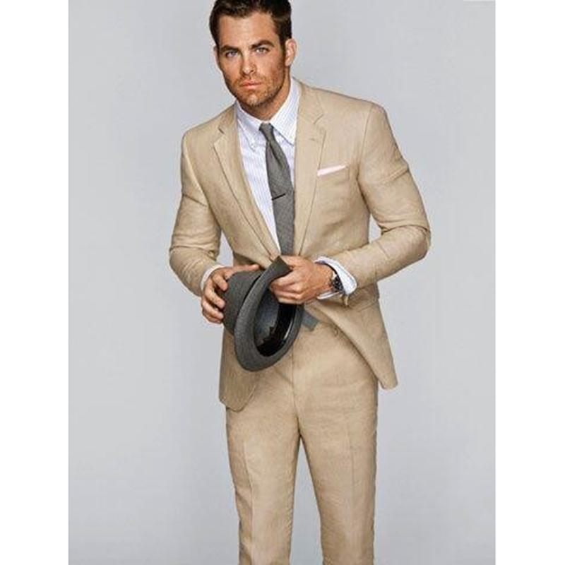 2018 Khaki Mens Suits For Beach Wedding Groom Tuxedos Terno Men Suit ...