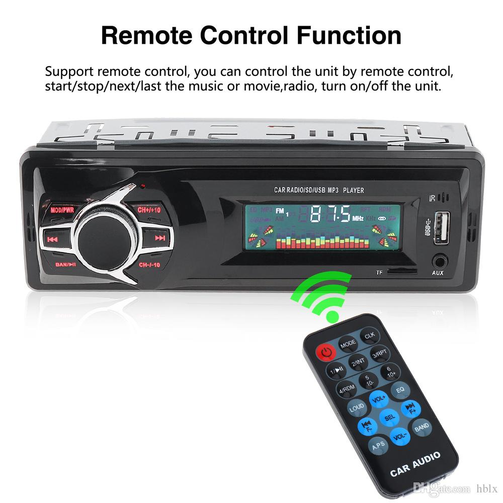 12V LCD Display Car Radio MP3 Player Vehicle Stereo Audio In-Dash Aux Input Receiver Support TF / FM / USB / SD with Remote Control CAU_02A