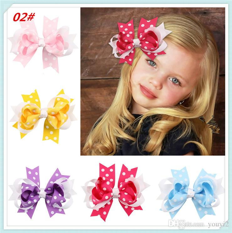 Fashion multicolored dot swallow hair accessories colorful bow baby Headband popular Rainbow gradient color large bow knot Hair Clips0205024