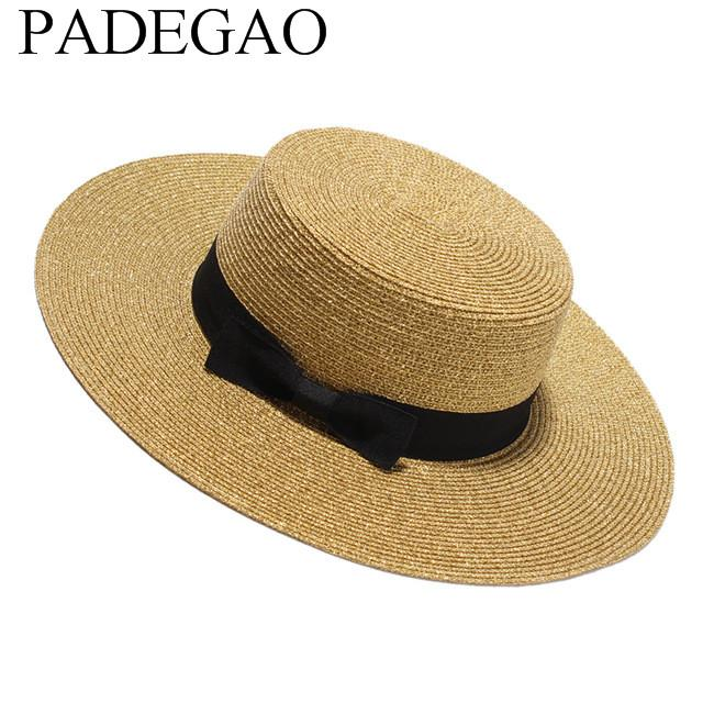 e5d1084d971 Women Summer Flat Sun Hat 2017 New Gold Straw Hat With Bow Wide Brim Beach  Caps Sombreros Mujer Verano Fishing Hat Wide Brim Fedora From Value333