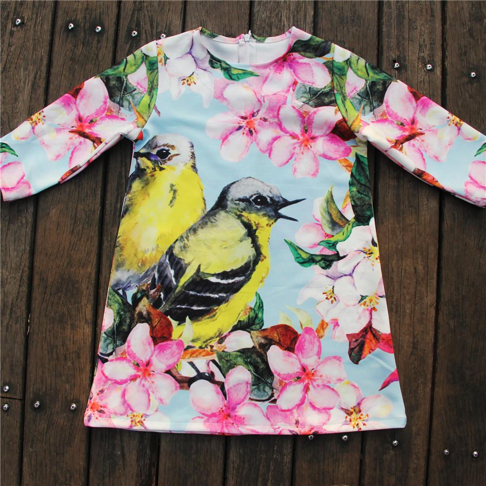 Girls Dresses nice Birds Print Children Designer baby Kids Clothes Fashion Kids 7 sleeve Girl clothing Spring and autumn dress